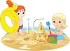 Brother and Sister Playing on the Beach clipart