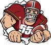 Football Player Ripping Through a Hole clipart