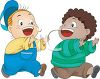 Two Boys Playing Tag clipart