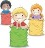 Kids in a Sack Race clipart