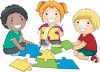 Children Putting Together a Puzzle clipart