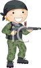 Boy Playing Soldier with a Paintball Gun clipart