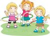 Girls Playing with Plastic Hoops clipart