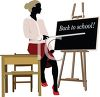 African American Teacher Pointing at the Blackboard clipart