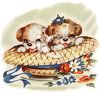 Vintage Easter Puppies in a Straw Hat clipart