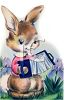 Little Brown Rabbit Playing a Squeeze Box clipart
