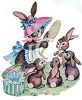 Mother Rabbit Trying on Her Easter Bonnet while Her Children Watch clipart