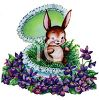 Cute Little Rabbit Sitting in an Easter Egg Surrounded by Flowers clipart