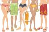 People in Bathing Suits Waiting in Line clipart