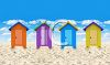 Colorful Beach Huts on a Perfect Summer Day clipart