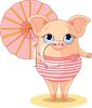 Cute Cartoon Piggy at the Beach with a Parasol clipart