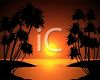 Tropical Lagoon with the Sun Setting clipart