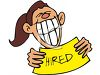 Smiling Woman Holding a Hired Sign clipart