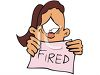 Cartoon of a Sad Woman Holding a Fired Sign clipart