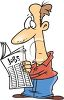 Cartoon of a Man Looking in the Paper for a Job clipart