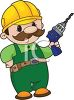 Cartoon Handyman with a Power Drill clipart