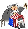 Cartoon of Betsy Ross Sewing the American Flag clipart