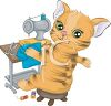 Cartoon of a Cat Sewing Clothes clipart