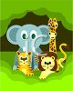 Cute Cartoon Jungle Animals clipart
