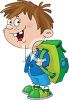 Adorable Little Schoolboy with a Backpack clipart