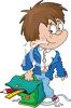 Schoolboy with Messy Clothes and Hair clipart