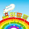 Cartoon Train Driving Over a Rainbow clipart