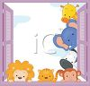 Cute Baby Animals Looking in a Window clipart