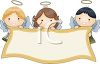 Adorable Little Angels Holding a Banner clipart