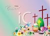 Easter Background with Eggs, Flowers and Crosses clipart