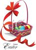 Happy Easter Message with an Easter Basket clipart