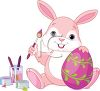 Adorable Pink Bunny Painting Easter Eggs clipart