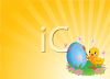 Little Chick Painting an Easter Egg clipart
