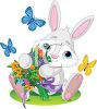 Adorable Bunny Holding a Bouquet of Spring Flowers clipart