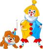 Cartoon of a Cute Girl Clown and Her Dog clipart