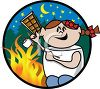 Little Girl Making S'mores Over a Campfire clipart