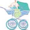 Cute Cartoon Baby Boy in a Blue Carriage clipart