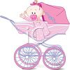 Cute Cartoon Baby Girl in a Pink Carriage clipart