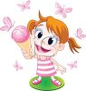 Red Haired Girl with Big Eyes Enjoying an Ice Cream Cone clipart