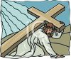 Christ Being Made to Carry His Crucifixion Cross clipart
