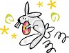 Bouncing Bunny Carrying an Easter Egg clipart