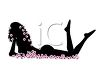 Silhouette of a Nude Woman Laying Down with Pink Flowers clipart