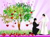 Bride and Groom Getting Married Outdoors clipart