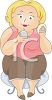 Cartoon of a Chubby Woman Putting on Face Powder clipart