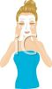 Woman Applying an Exfoliating Face Mask clipart