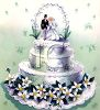 Vintage Wedding Design of Bride and Groom Cake Topper on a Wedding Cake clipart