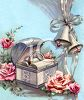 Vintage Wedding Design of Wedding Bells Next to a Ring Box clipart
