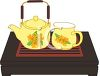 Tea Set on a Wooden Bed Tray clipart