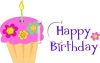Whimsical Cupcake with a Happy Birthday Message clipart