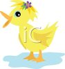 Duck with a Flower in Her Hair clipart