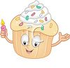 Cartoon of an Animated Cupcake Holding a Birthday Candle clipart